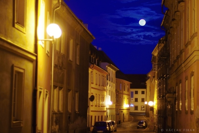 Moonlight shadow in historical center of Cheb
